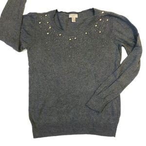 LOFT Embellished Jeweled Collar Sweater Gray XL